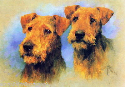 c1910~A.Wardle~Two Airedale Puppy Dog Dogs Portraits~ NEW Large Note Cards