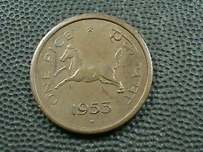 INDIA       1  Pice    1953  -  B    ,  HORSE   ,   LIONS