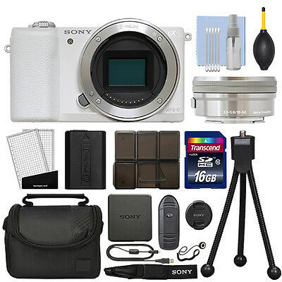 Sony Alpha a5100 Mirrorless Digital Camera with 16-50mm Lens White + 16GB Kit