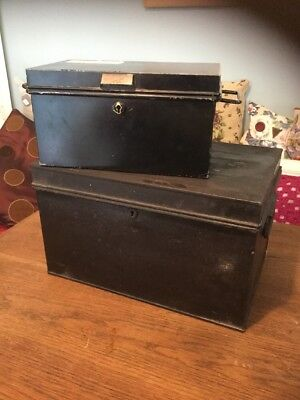 Pair Of Vintage Old Antique Metal Cash Deed Tin Boxes  Shabby Chic Storage