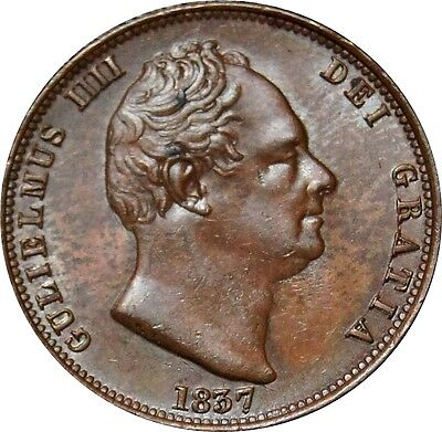 1837 Copper Half-penny, William IV. A. Uncirculated . Spink EF £135