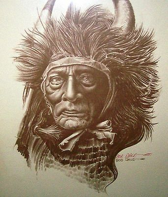 "American Indian Print ~ "" Bull Chief "" Crow Nation - Bob Dale - Artist Signed"