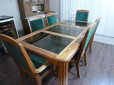 Oak Dining room set 6 chairs and 3 section glass table top  LOCAL ONLY