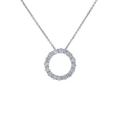 1.50 Carat Round Diamond Circle Of Love Pendant on Cable Link Chain 14K White Go