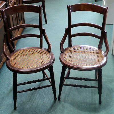 Matching Pair Of Antique Restored Victorian Accent Chairs With Cane Seats