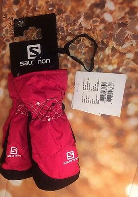 New**salomon Electra Mitten Junior Girls Sz Medium 10Y Gaura Pink Black Stitched