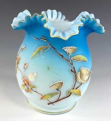 Fabulous Victorian Enameled Vase Ruffled Top SPIDER AND WEB Floral Decoration