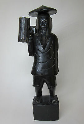 Oriental Wooden Man With Baskets Hand-Carved