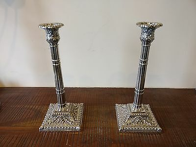 Antique English 19th century pair silver plated candlesticks in Georgian style