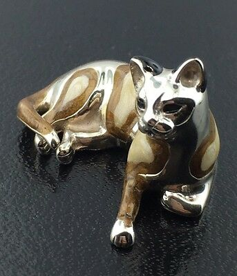 Sterling silver & hand enameled medium Saturno spotted Cat figurine from Italy
