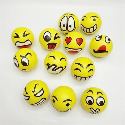 Emoji Anti Stress Ball Face Mood ADHD Squish Squeeze Strength Relief Kids Toy