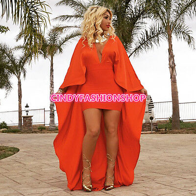 USA Women  Elegant Woman Bandage Cloak Sleeve Solid Long Dress Club Dress