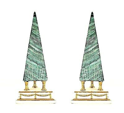 Pair of Italian Neo-Classic Style (1940s) Faux Malachite Green Painted Obelisks