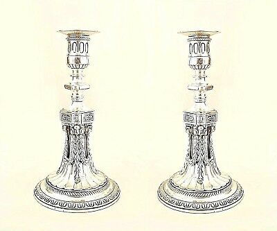 Pair of English Georgian Style (19/20th Cent.) Silver-Plate Candlesticks