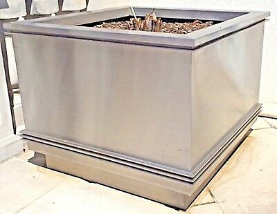 Pair of American Art Deco Stainless Stainless Steel Large Square Planters