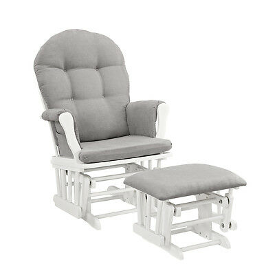 Glider and Ottoman White Finish Gray Cushions Nursery Furniture Living Room Den