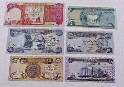 Collectible  Set of 6 Iraqi Dinar Note :25,000. 5,000. 1,000. 500. 250. 50.