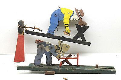 2 Vintage 1950's Wood Whirligig Weather Vanes Hand Made Americana Man Chopping