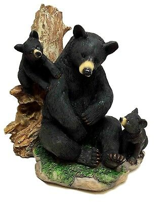 Black Bear Resting with Cubs by Large Tree Resin Figurine Statue Sculpture