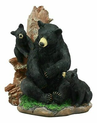 "Black Bear Mother and Two Cubs Wildlife Decorative Figurine Statue Animal  6""H"