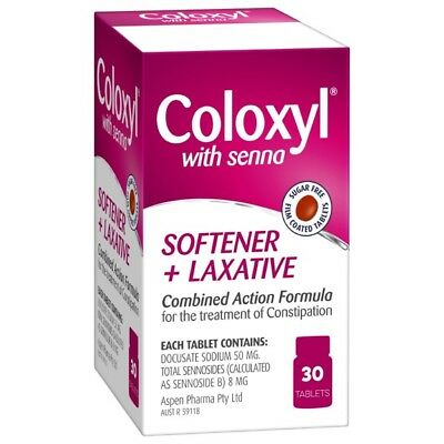 Coloxyl With Senna Softener and Laxative Tablets 30 NEW