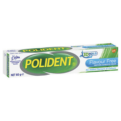 Polident Flavour Free Denture Adhesive Cream 60g NEW