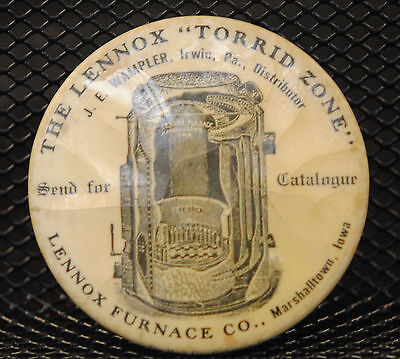 Vintage Lennox Furnace 2 Inch Advertising Mirror Early 20Th Century