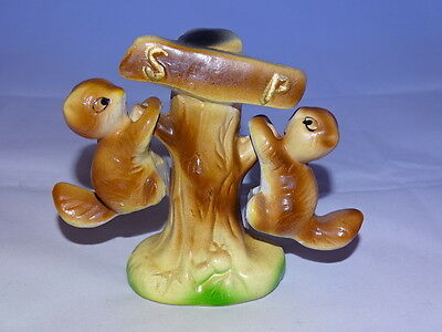 Vintage Squirrels hanging from a Tree Salt and Pepper Shakers 3 Piece Set