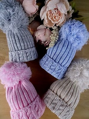 Baby Boy Girl Large Pom Pom Blue Pink Grey Beige Cable Ribbed Knitted Hat 0-6m