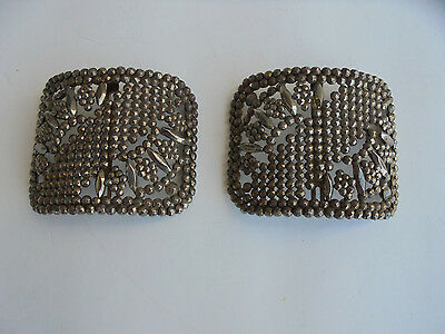 Antique Pair Square French Steel Cut Riveted Shoe Buckles~ Made In France 2 of 4