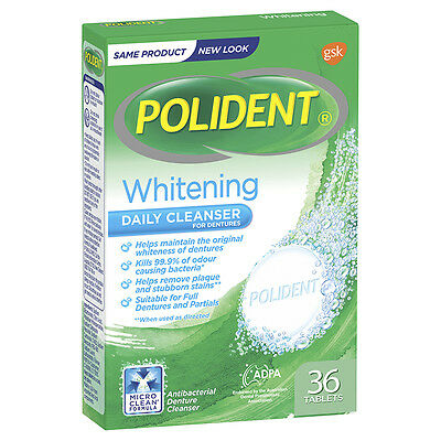 Polident Whitening Cleanser Tablets 36 NEW Cincotta Chemist