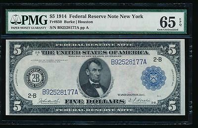 AC Fr 850 1914 $5 New York FRN PMG 65 EPQ Burke/Houston GEM UNCIRCULATED
