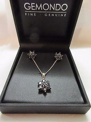 germondo 925 / sterling silver with blue setting pendant necklace  earring set