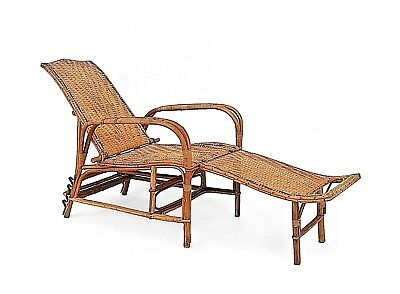 French Art Deco Natural Wicker and Bentwood Adjustable Back Chaise
