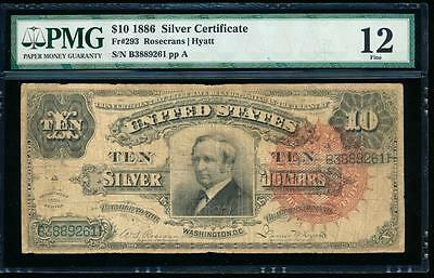 AC Fr 293 1886 $10 Silver Certificate PMG 12 TOMBSTONE! big red seal