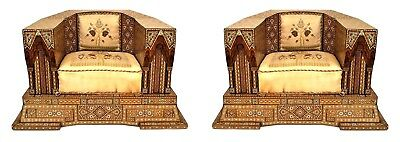 """Pair of Middle Eastern Morrish/Syrian """"Palace"""" Club Chairs"""