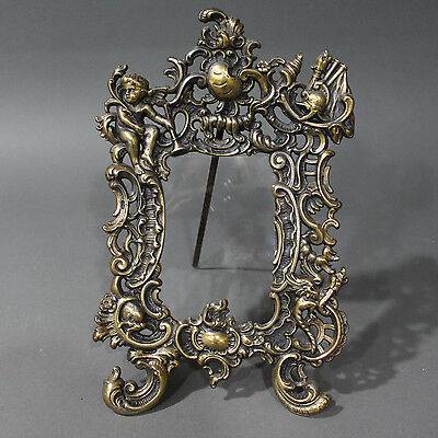 Antique Ornate Cherub Brass Easel Style Gracefully Scrolled Picture Frame