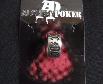 Ac/dc Official 2003 Pewter Ring Uk Import Poker/alchemy  Logo   Size10