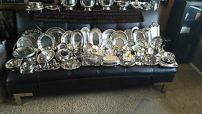 99 Piece Lot Antique Estate Silver Plate Bowls Dishes Platters Trays Creamer ETC