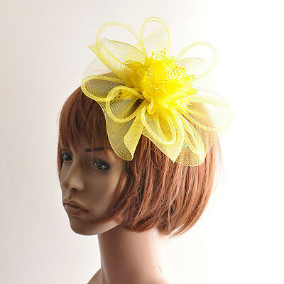 Party lady flower yellow mesh feather handmade fascinator hair clip accessories