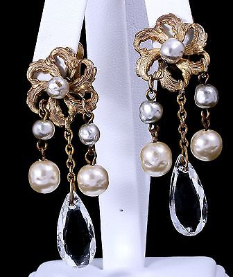 Vintage Miriam Haskell Dangle Glass Baroque Pearl and Crystal Clip-On Earrings