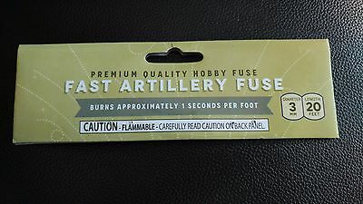 "(1) Fast Artillery Yellow Hobby ""CANNON FUSE"" Safety Fuse Label"