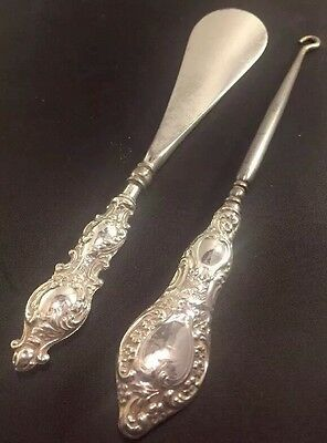 Silver Antique Shoe Horn & Button Hook Set 1908 Sidney & Co Vanity