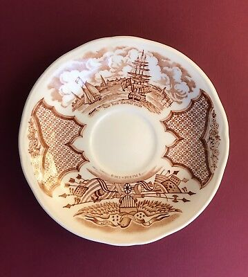 Fair Winds Brown Saucer Alfred Meakin New York Harbor 1930 E Pluribus Unum Plate