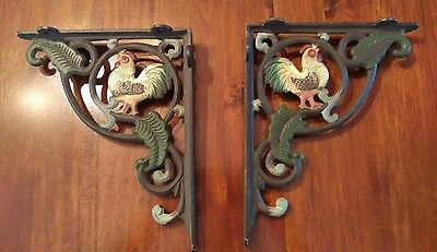 Rooster Cast Iron Brackets Shelf Support (2 pieces total)