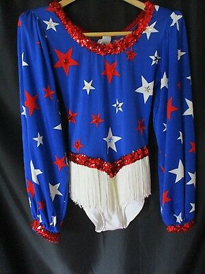 Vintage red white blue women's western costume leotard fringe cowgirl L