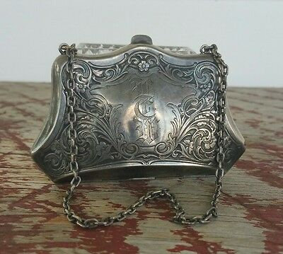 Exquisite Antique Victorian Sterling Silver Purse with Chain Monogram Embossed