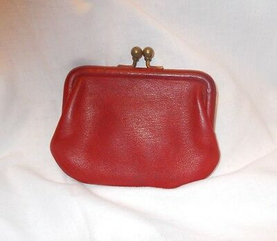 Vintage Coach Red Leather Kiss Lock Coin Change Purse Great Distressed Look