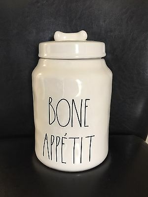Rare Hard To Find Rae Dunn BONE APPETIT Appetite Canister