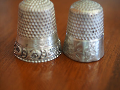 Lot 2 Antique Sterling Silver Floral Embossed Etching Sewing Thimbles~1 Anchor